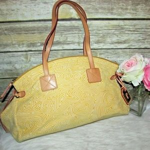 Dooney and Bourke Yellow Swirl Canvas Hobo Bag
